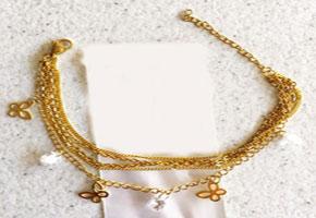 دستبند زنانه زنجیری استیل آویزدار